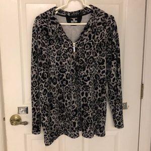 Jones NY Cheetah Print Zipper-Up Top